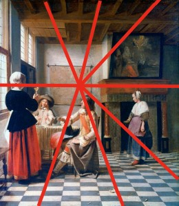 Drawing the Floor: Perspective Grid for Peter de Hooch, A Woman Drinnking